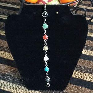 Silver multistone heart bracelet